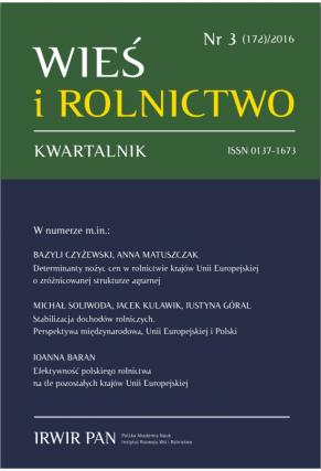 2016 WIEŚ I ROLNICTWO <br>t. 172, nr 3