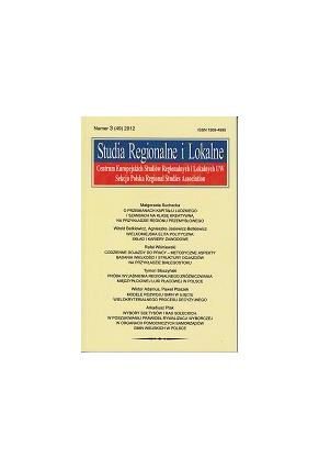 2012 STUDIA REGIONALNE I LOKALNE, nr 3 (49) <br>UWAGA! Do nabycia także w PDFie