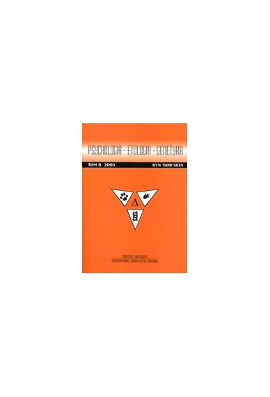 2003 PSYCHOLOGIA - ETOLOGIA - GENETYKA, t. 8