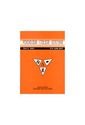 2004 PSYCHOLOGIA - ETOLOGIA - GENETYKA, t. 9