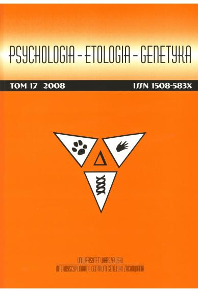 2008 PSYCHOLOGIA – ETOLOGIA – GENETYKA, t. 17