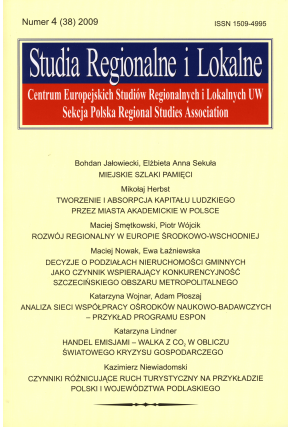 2009 STUDIA REGIONALNE I LOKALNE, nr 4 (38) <br> UWAGA! Do kupienia także w PDFie