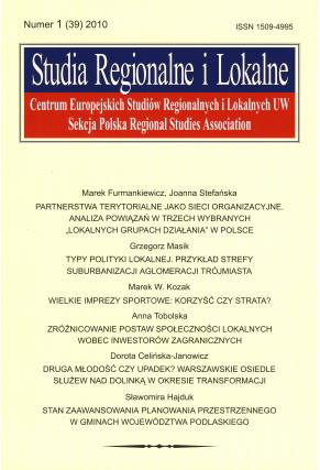 2010 STUDIA REGIONALNE I LOKALNE, nr 1(39) <br>UWAGA! Do nabycia także w PDFie