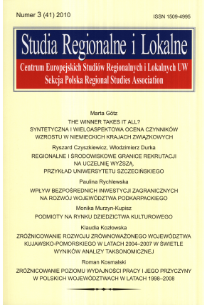 2010 STUDIA REGIONALNE I LOKALNE, nr 3 (41) <br>UWAGA! Do nabycia także w PDFie