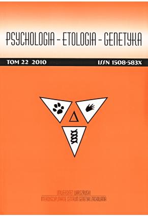 2010 PSYCHOLOGIA – ETOLOGIA – GENETYKA, t. 22 <br>UWAGA! Do kupienia także w PDFie