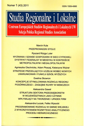 2011 STUDIA REGIONALNE I LOKALNE, nr 1 (43) <br>UWAGA! Do nabycia także w PDFie