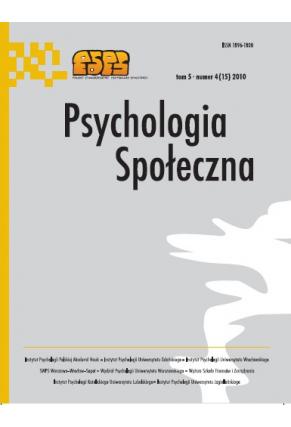 2010 PSYCHOLOGIA SPOŁECZNA NR 4(15),  tom 5 <br> UWAGA! Do kupienia także w PDFie