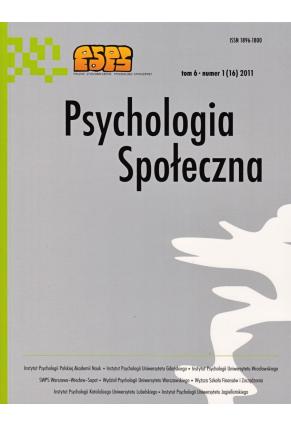 2011 PSYCHOLOGIA SPOŁECZNA NR 1(16),  tom 6 <br> UWAGA! Do kupienia także w PDFie