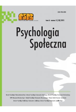 2011 PSYCHOLOGIA SPOŁECZNA NR 3(18),  tom 6 <br> UWAGA! Do kupienia także w PDFie