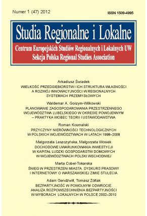 2012 STUDIA REGIONALNE I LOKALNE, nr 1 (47) <br>UWAGA! Do nabycia także w PDFie