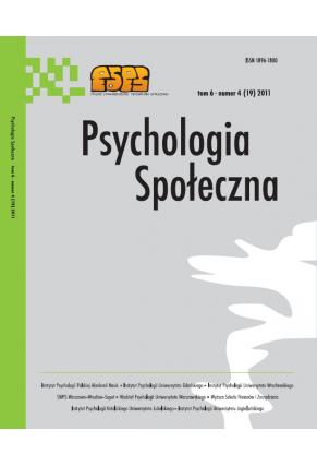 2011 PSYCHOLOGIA SPOŁECZNA NR 4 (19),  tom 6 <br> UWAGA! Do kupienia także w PDFie