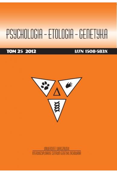 2012 PSYCHOLOGIA – ETOLOGIA – GENETYKA, t. 25 <br>UWAGA! Do kupienia także w PDFie