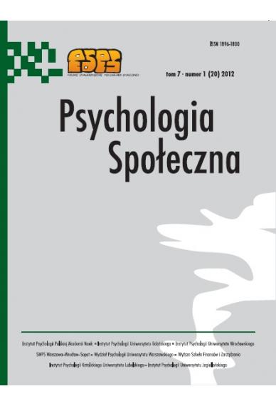 2012 PSYCHOLOGIA SPOŁECZNA NR 1 (20),  tom 7 <br> UWAGA! Do kupienia także w PDFie