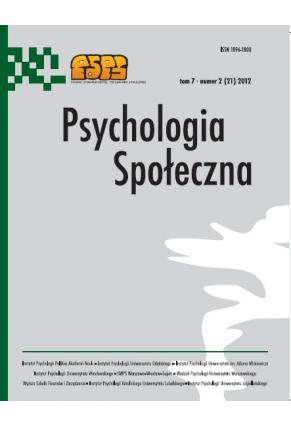 2012 PSYCHOLOGIA SPOŁECZNA NR 2 (21),  tom 7 <br> UWAGA! Do kupienia także w PDFie