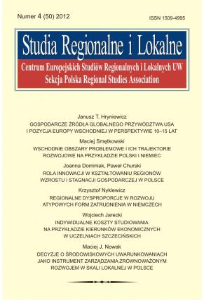 2012 STUDIA REGIONALNE I LOKALNE, nr 4 (50) <br>UWAGA! Do nabycia także w PDFie