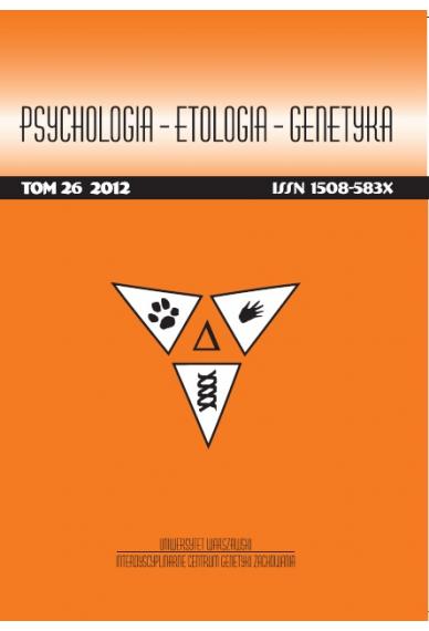2012 PSYCHOLOGIA – ETOLOGIA – GENETYKA, t. 26 <br>UWAGA! Do kupienia także w PDFie