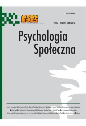 2012 PSYCHOLOGIA SPOŁECZNA NR 3 (22),  tom 7 <br> UWAGA! Do kupienia także w PDFie