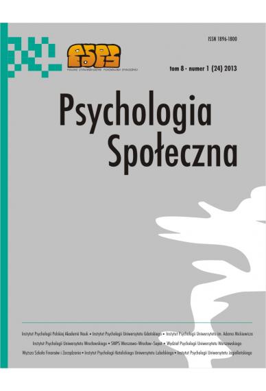 2013 PSYCHOLOGIA SPOŁECZNA NR  1 (24),  tom 8 <br> UWAGA! Do kupienia także w PDFie