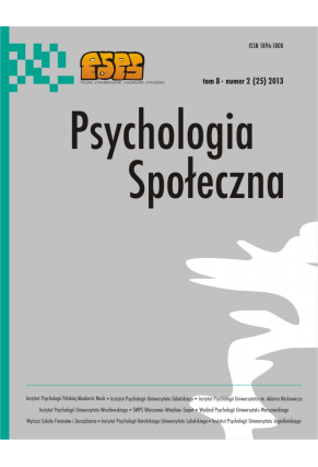 2013 PSYCHOLOGIA SPOŁECZNA NR  2 (25),  tom 8 <br> UWAGA! Do kupienia także w PDFie
