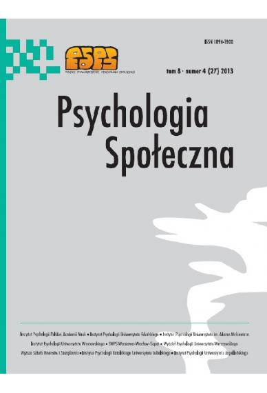 2013 PSYCHOLOGIA SPOŁECZNA NR 4 (27), tom 8 <br>Uwaga! Do kupienia także w PDFie