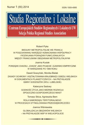 2014 STUDIA REGIONALNE I LOKALNE, NR 1 (55) <br>Uwaga! Do kupiena także w PDFie