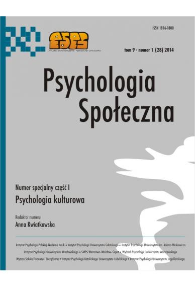 2014 PSYCHOLOGIA SPOŁECZNA NR 1 (28), tom 9 <br>Uwaga! Do kupienia także w PDFie