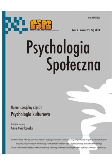 2014 PSYCHOLOGIA SPOŁECZNA NR 2 (29), tom 9 <br>Uwaga! Do kupienia także w PDFie
