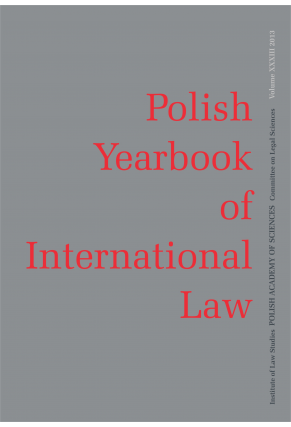 2013 POLISH YEARBOOK OF INTERNATIONAL LAW <br>vol. XXXIII