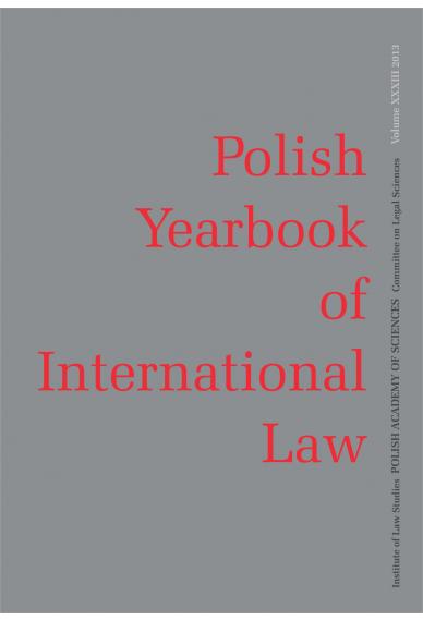 2013 POLISH YEARBOOK OF INTERNATIONAL LAW <br>vol. XXXIII