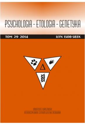 2014 PSYCHOLOGIA – ETOLOGIA – GENETYKA<br>t. 29 <br>Uwaga! Do kupienia także w PDFie