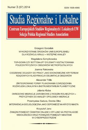 2014 STUDIA REGIONALNE I LOKALNE, NR 3 (57) <br>Uwaga! Do kupienia także w PDFie