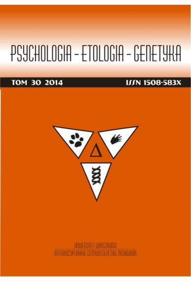 2014 PSYCHOLOGIA – ETOLOGIA – GENETYKA <br>t. 30 <br>Uwaga! Do kupienia także w PDFie