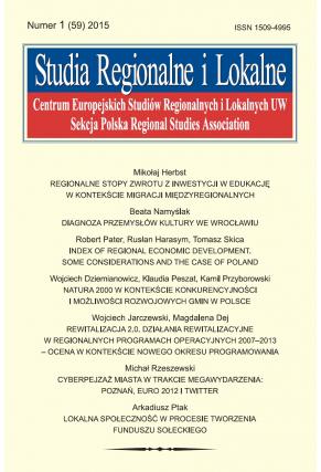 2015 STUDIA REGIONALNE I LOKALNE, NR 1 (59) <br>Uwaga! Do kupienia także w PDFie