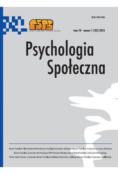 2015 PSYCHOLOGIA SPOŁECZNA NR 1 (32)  tom 10 <br> Uwaga! Do kupienia także w PDFie