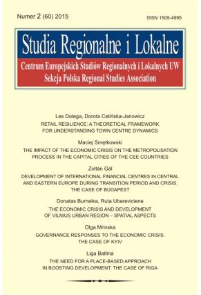 2015 STUDIA REGIONALNE I LOKALNE, NR 2 (60) <br> Uwaga! Do kupienia także w PDFie