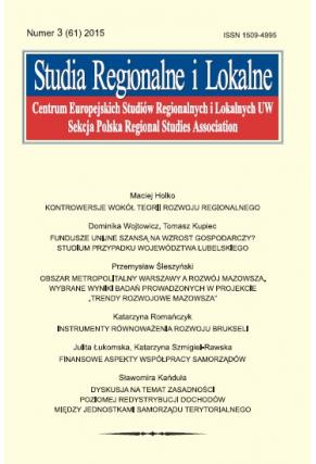 2015 STUDIA REGIONALNE I LOKALNE, NR 3 (61) <br> Uwaga! Do kupienia także w PDFie