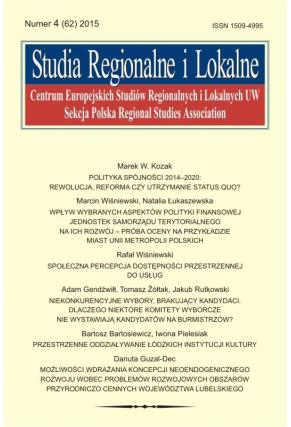 2015 STUDIA REGIONALNE I LOKALNE, NR 4 (62) <br> Uwaga! Do kupienia także w PDFie