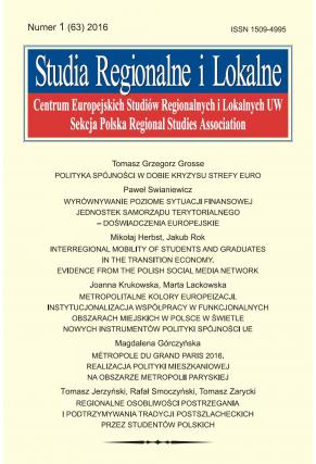 2016 STUDIA REGIONALNE I LOKALNE, NR 1 (63) <br> Uwaga! Do kupienia także w PDFie
