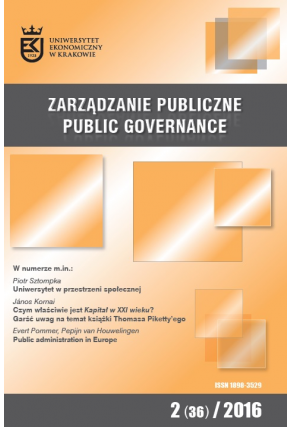 2016 ZARZĄDZANIE PUBLICZNE <br> nr 2 (36) <br>Uwaga! Do kupienia także w PDFie