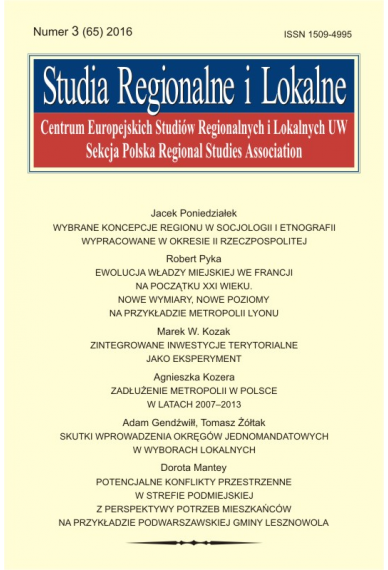 2016 STUDIA REGIONALNE I LOKALNE, NR 3 (65) <br> Uwaga! Do kupienia także w PDFie