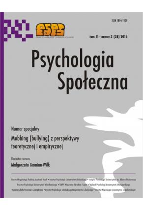2016 PSYCHOLOGIA SPOŁECZNA NR 3 (38) tom 11 <br> Uwaga! Do kupienia także w PDFie
