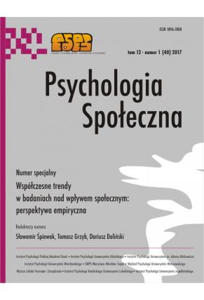 2017 PSYCHOLOGIA SPOŁECZNA NR 1 (40) tom 12 <br> Uwaga! Do kupienia także w PDFie