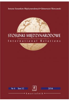 2016 STOSUNKI MIĘDZYNARODOWE, t. 52 <br> nr 4<br> Uwaga! Do kupienia także w PDFie