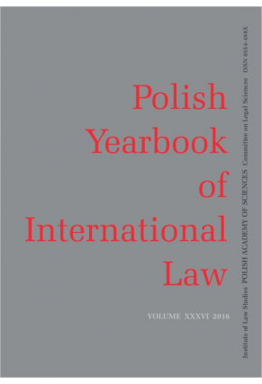 2016 POLISH YEARBOOK OF INTERNATIONAL LAW <br>vol. XXXVI
