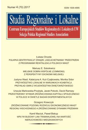 2017 STUDIA REGIONALNE I LOKALNE, NR 4 (70) <br> Uwaga! Do kupienia także w PDFie