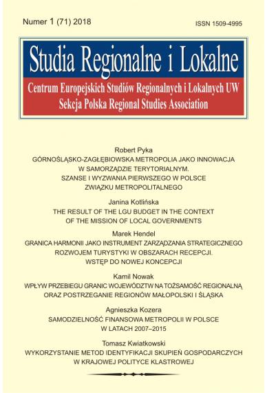 2018 STUDIA REGIONALNE I LOKALNE, NR 1 (71) <br> Uwaga! Do kupienia także w PDFie