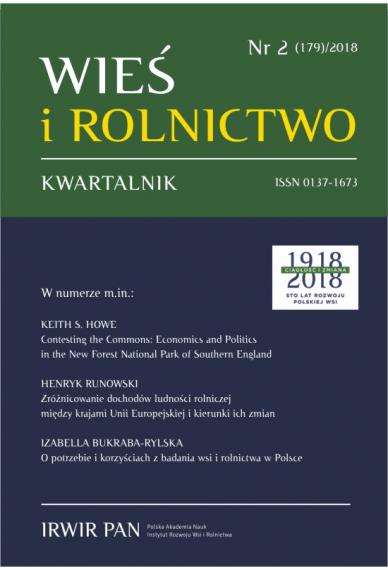 2018 WIEŚ I ROLNICTWO <br>t. 179, nr 2 <br>UWAGA, do kupienia także w PDFie!