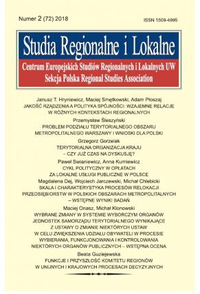 2018 STUDIA REGIONALNE I LOKALNE, NR 2 (72) <br> Uwaga! Do kupienia także w PDFie