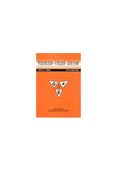 2006 PSYCHOLOGIA - ETOLOGIA - GENETYKA, t. 13