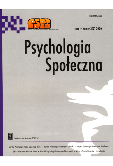 2006 PSYCHOLOGIA SPOŁECZNA nr 2(2), tom 1